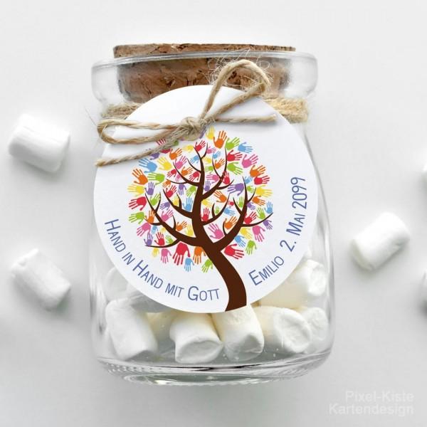 runder Geschenkanhänger Kommunion Konfirmation Baum Hand