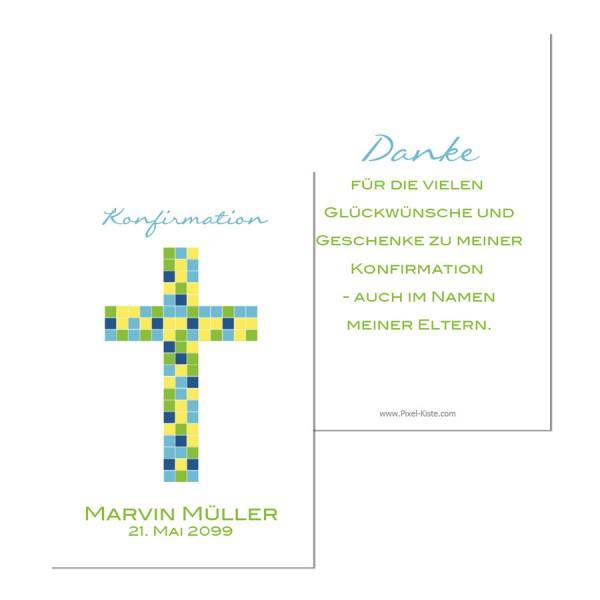 Geschenkanhänger für Gastgeschenk Kommunion Konfirmation Mosaik Kreuz