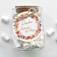 runde Geschenkanhänger Hochzeit Blütenkranz