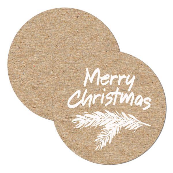 weihnachtlicher Geschenkanhänger in Kraftpapieroptik drucken lassen