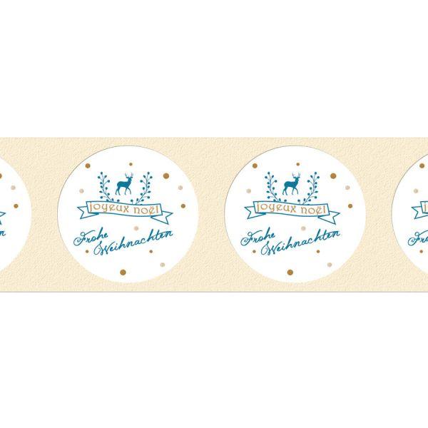 runde Geschenkaufkleber für Weihnachtspräsente mit Rentier