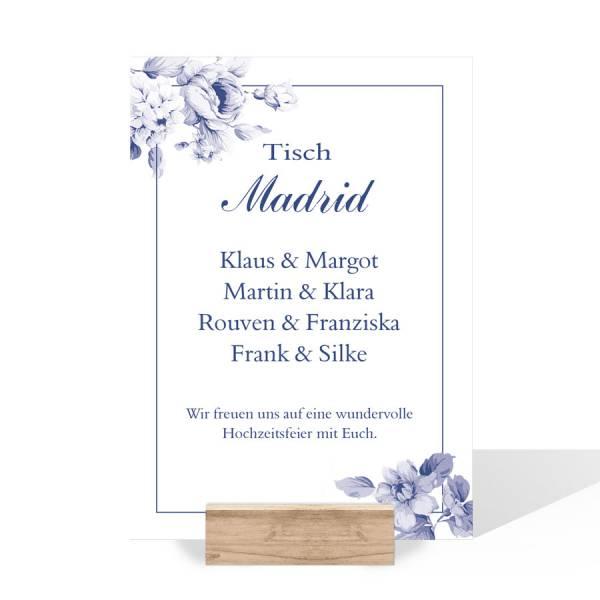 Gruppentischkarten Platzkarten Sitzordnung Hochzeit Indianblue gestalten