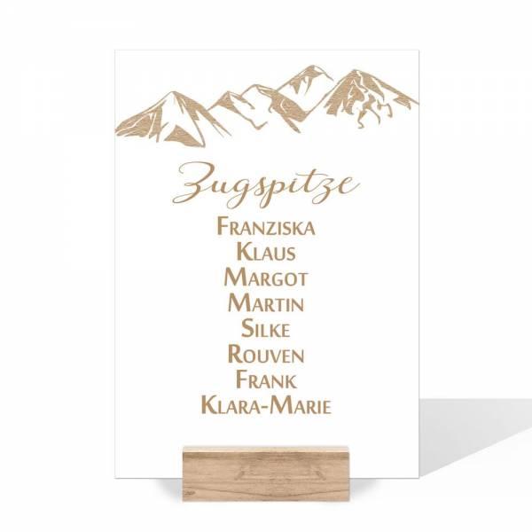 Gruppentischkarte für die Berghochzeit online bestellen