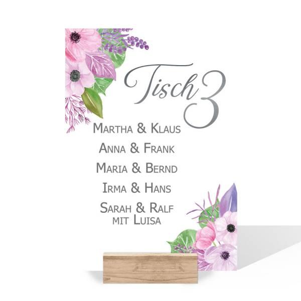 Gruppentischkarten Hochzeit Blumen Blüten