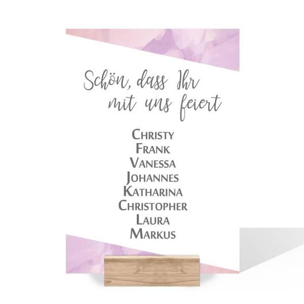 Gruppentischkarten zur Hochzeit in Pastellfarben drucken lassen