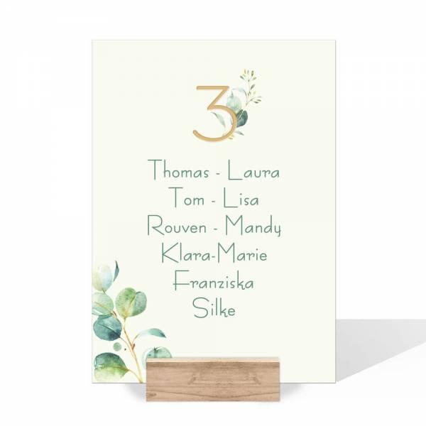 Gruppentischkarten für die Hochzeit mit Eukalyptus drucken lassen