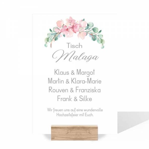 Gruppentischkarten zur Hochzeit rose Eukalyptus drucken