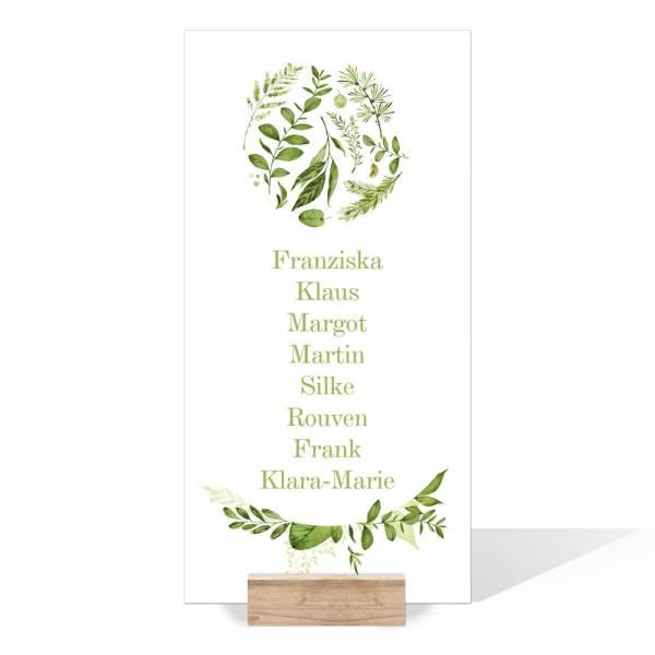 Gruppentischkarten Hochzeit Greenery Wedding drucken lassen