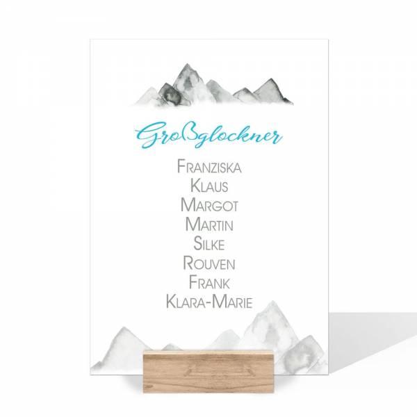 Namenskarten für die Hochzeit in den Bergen online drucken lassen