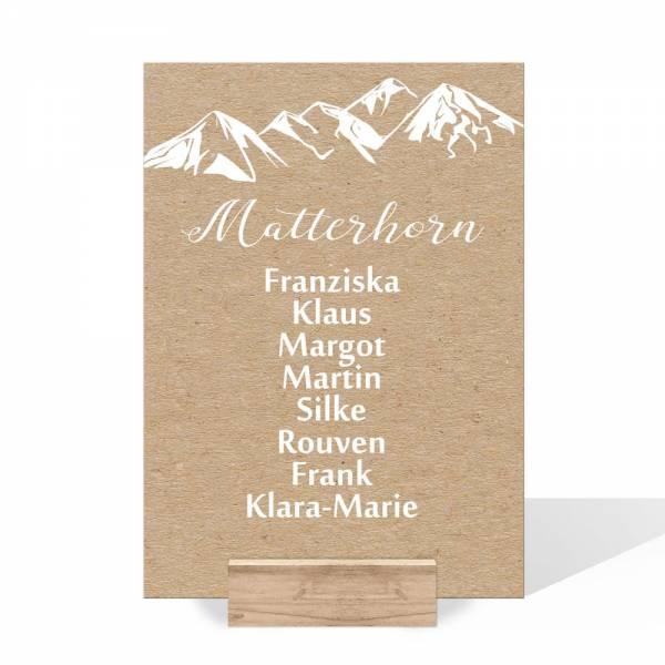 Gruppentischkarten für die Berghochzeit Kraftkartonoptik drucken lassen