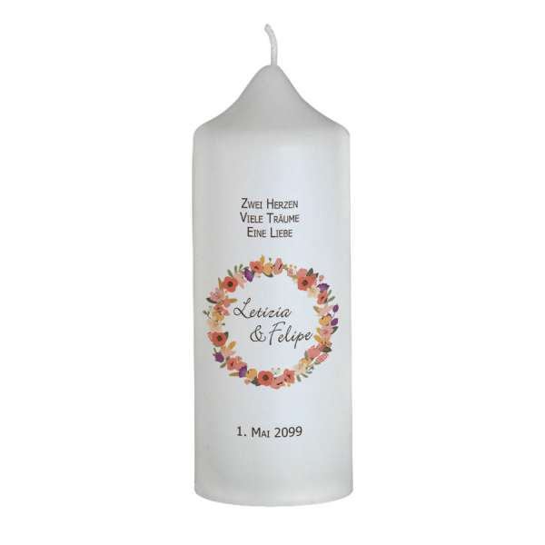 Hochzeitskerze Blütenkranz individuell bedruckt