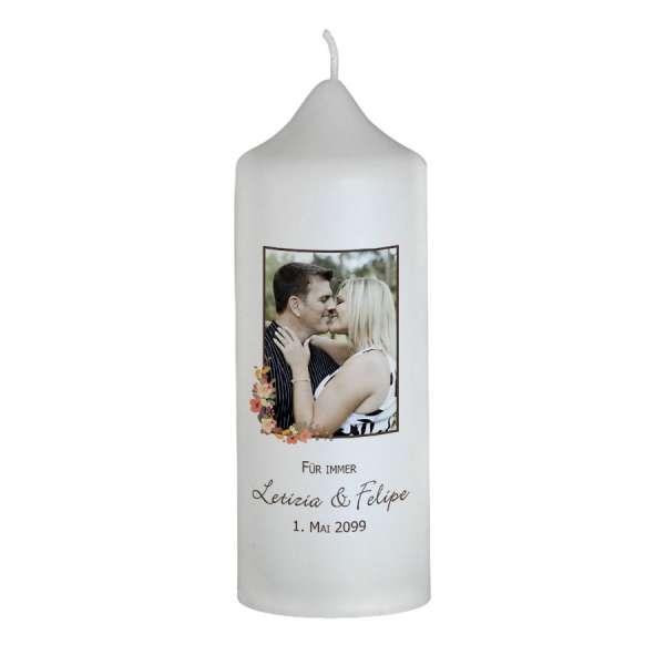 Hochzeitskerze Brautkerze mit Blüten und Foto