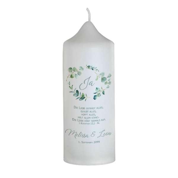 Hochzeitskerze mit Eukalyptus-Design individuell gestalten lassen