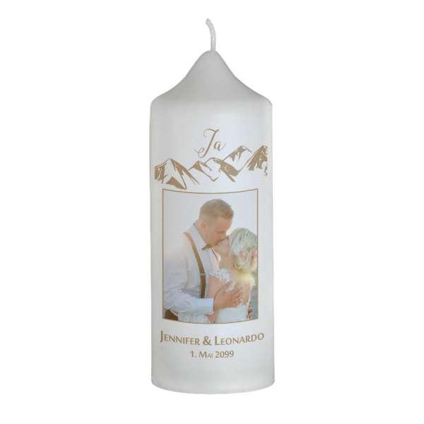 individuelle Hochzeitskerze für die Berghochzeit gestalten lassen