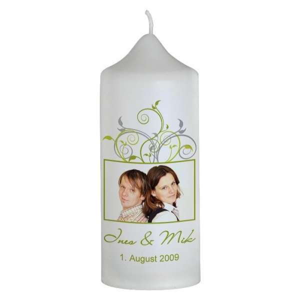 Hochzeitskerze mit Foto und Ornamenten