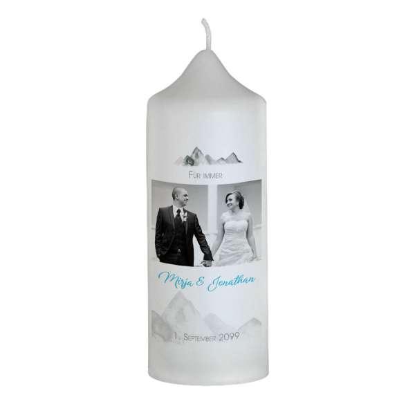 personalisierte Hochzeitskerze für die Hochzeit in den Bergen online kaufen