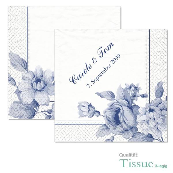 bedruckte Tissue-Servietten zur Hochzeit Indianblue gestalten lassen