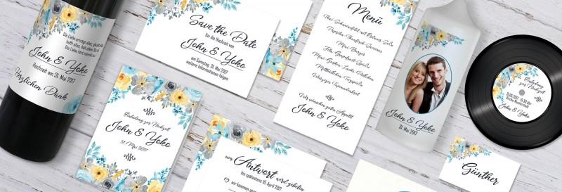 florale Hochzeitspapeterie mit üppigen Blüten drucken