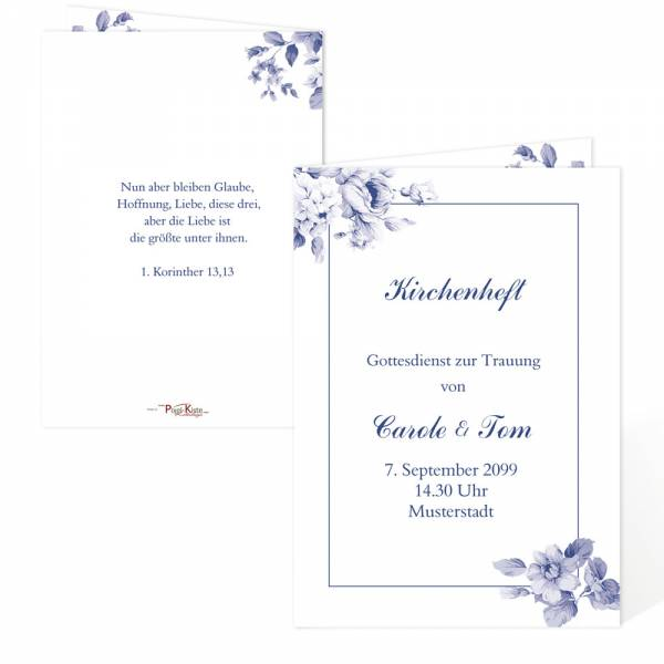 "Einladungen Hochzeit Pocketfold Indian blue ""Carol & Tom"""