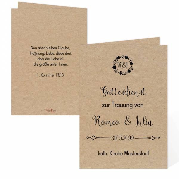 """Kirchenheft zur Hochzeit Vintage-Style """"Romeo & Julia"""""""