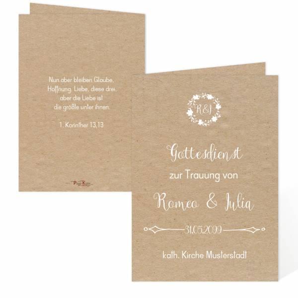 """Hochzeitsprogramm Vintage-Style """"Romeo & Julia"""" drucken"""