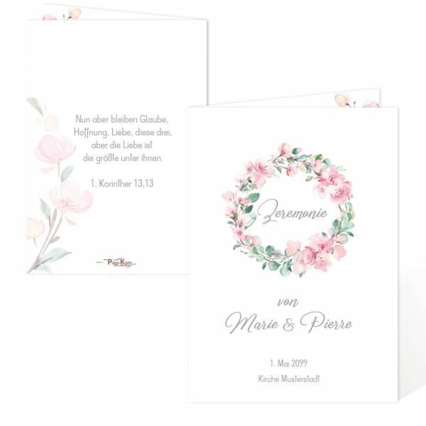 Kirchenheft Programm Hochzeit Kirschblüten Eukalytus