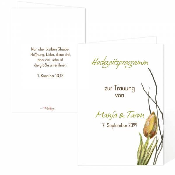 Kirchenprogramm zur Trauung Tulip Tulpe drucken lassen