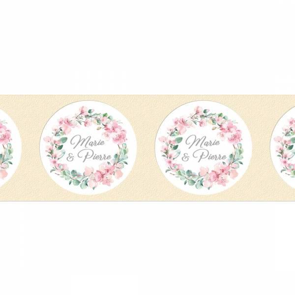"""Klebeetikett mit Kirschblüte und Eukalyptus """"Marie & Pierre"""""""