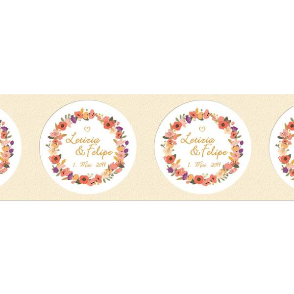 runde Klebeetiketten Hochzeit Gastgeschenk Blütenkranz