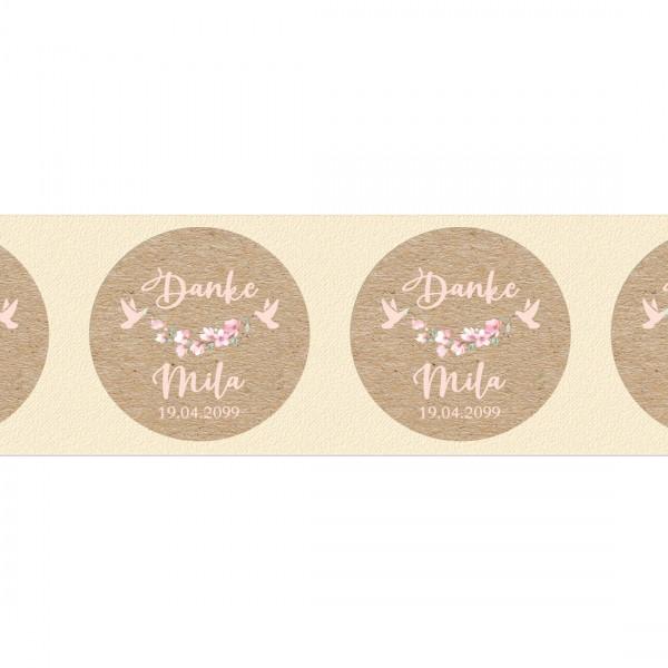 Klebeetiketten mit Kirschblüte und Taube für Gastgeschenke