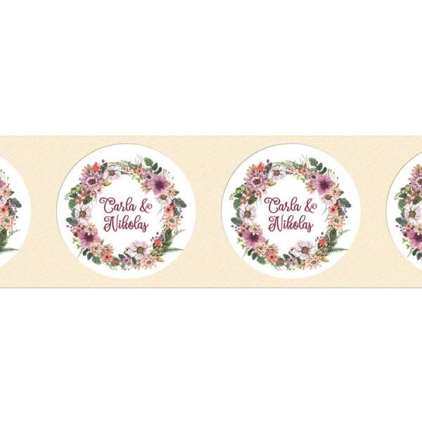 Florale Klebeetiketten zur Hochzeit drucken lassen