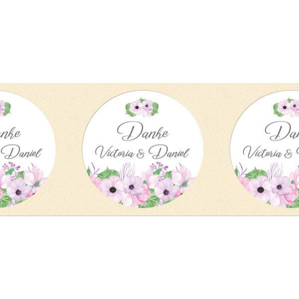 Klebeetiketten rund Hochzeit Gastgeschenk Boho Blumen drucken
