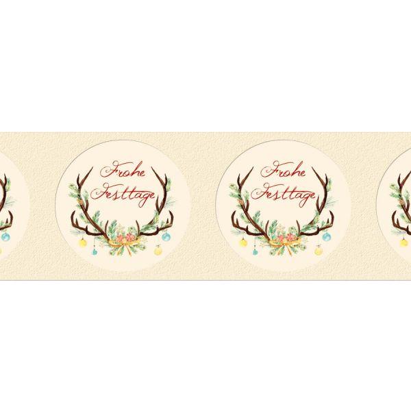 moderne Geschenkaufkleber mit Geweih und Tannen online drucken lassen