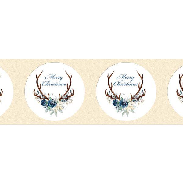 winterliche Geschenkaufkleber mit Hirschgeweih für die Weihnachtspräsente