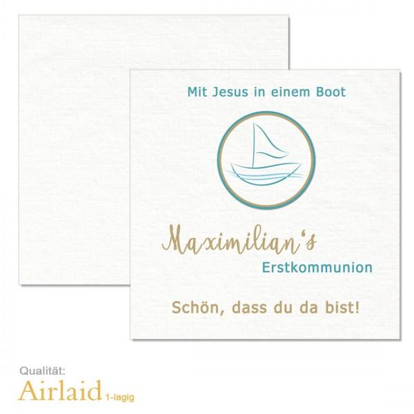 """Servietten Kommunion """"Mit Jesus im Boot"""" Airlaid drucken"""