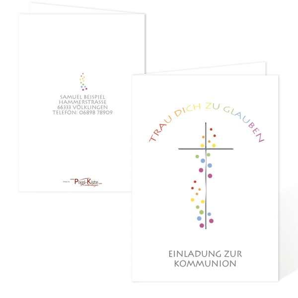 """wunderschöne Kommunionseinladung """"Trau dich zu glauben"""" in Regenbogenfarben"""
