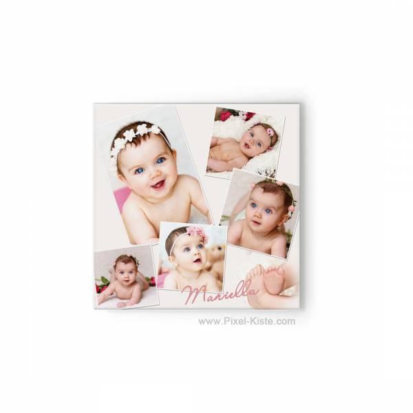 Babyfotos als Collage auf Leinwand