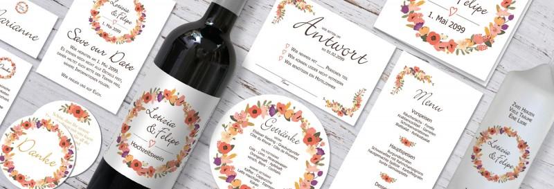 Verspielte Hochzeitspapeterie mit Blütenkranz gestalten