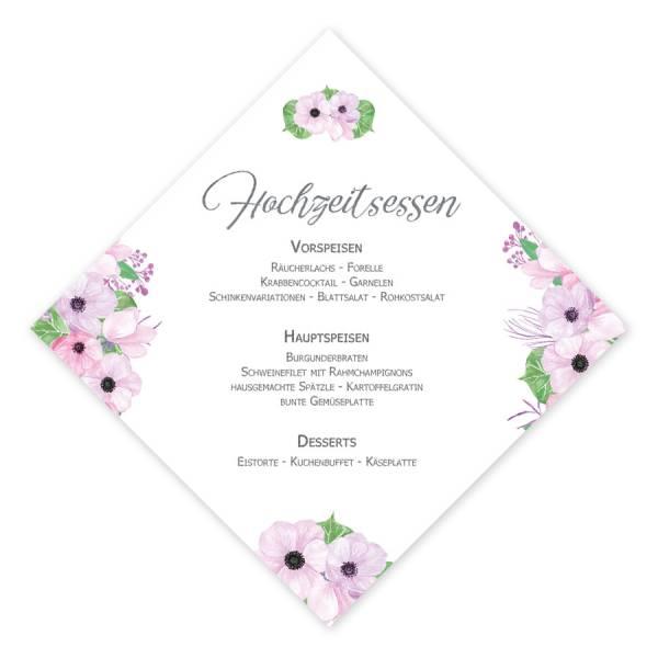 quadratische Menükarten Hochzeit Boho Blüten