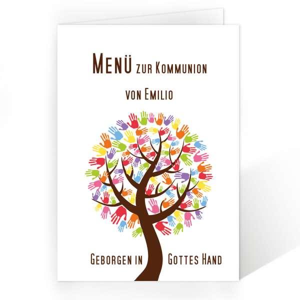 Menükarten Erstkommunion Konfirmation Baum mit Handabdrücken
