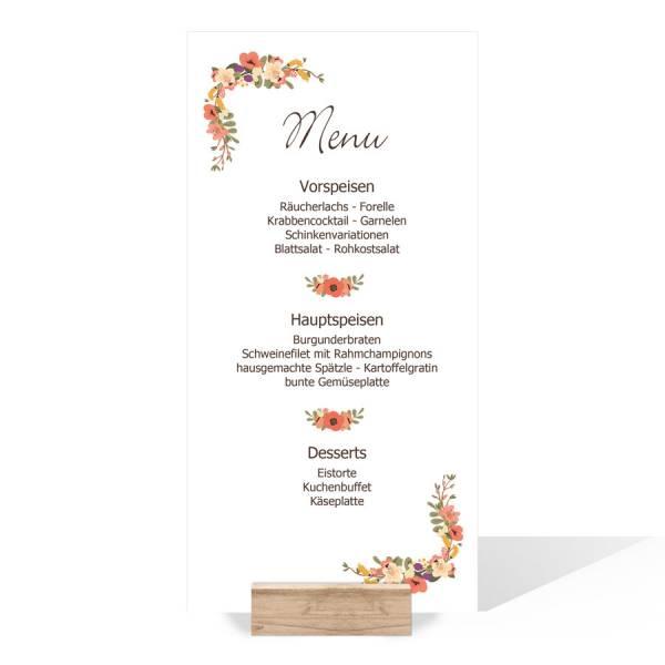 """Menükarten zur Hochzeit mit Blütenkranz """"Letizia & Felipe"""""""