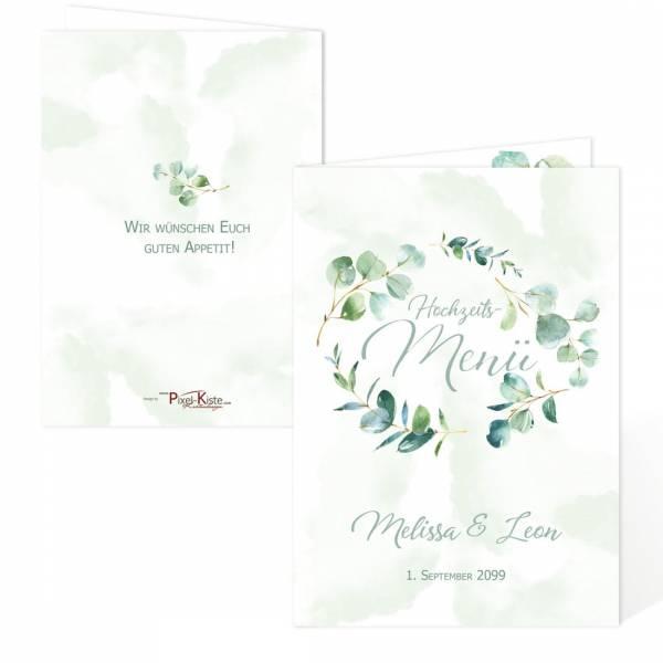 """Menükarte für die Hochzeit mit Eukalyptus """"Melissa & Leon"""""""