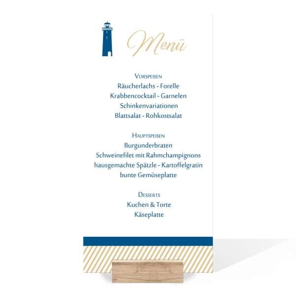 personalisierte Menükarten mit Leuchtturm im langen Format zur Taufe oder Namensweihe