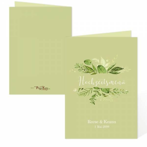 Menükarten für die Hochzeit Greenery Wedding grün drucken lassen