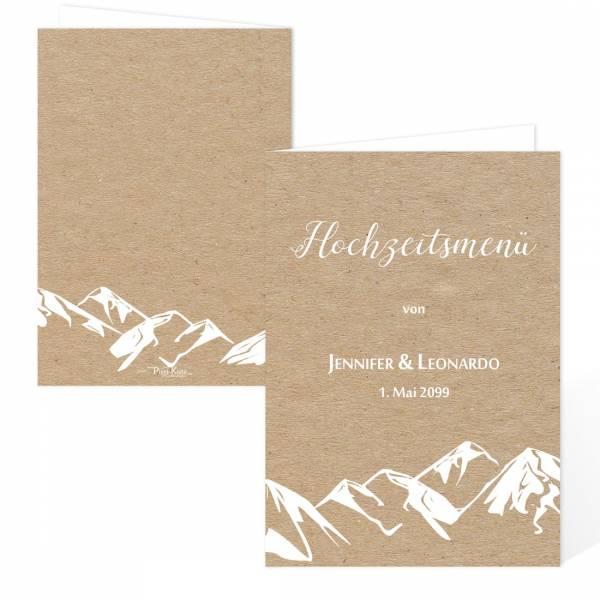 """Menükarten für die Berghochzeit """"Jennifer & Leonardo"""""""