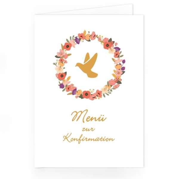 """Menükarten """"Blütenkranz"""" für Kommunion Konfirmation"""