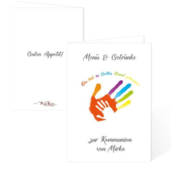 """Menükarten """"Gottes Hand"""" mit Handabdruck zur Kommunion drucken"""