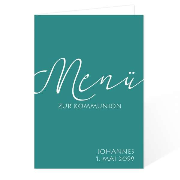 """Menükarten zur Konfirmation Kommunion """"elegant"""" drucken lassen"""