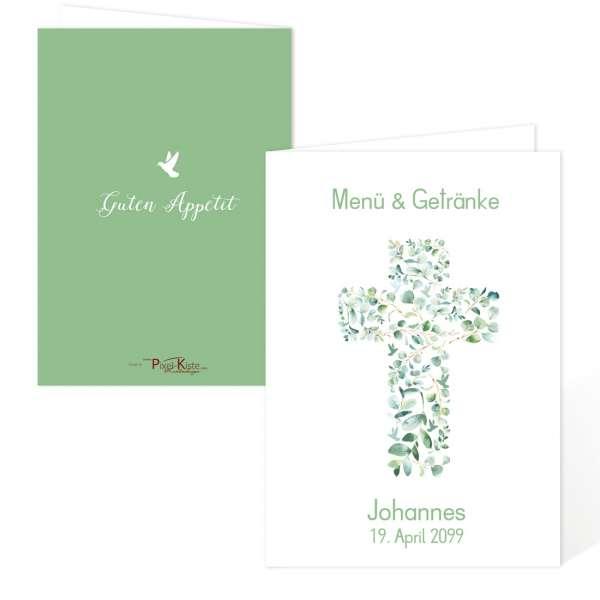 Menükarten zur Konfirmation und Kommunion mit Eukalyptuskreuz mit Tauben