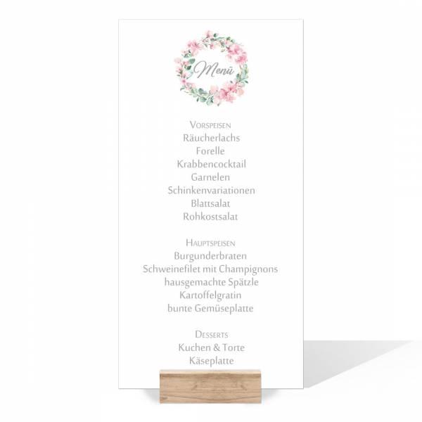 """Menükarten im langen Format mit Kirschblüten und Eukalyptus """"Marie & Pierre"""""""